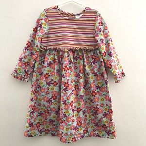 Hanna Andersson Striped Floral Ruffle Dress 110/5